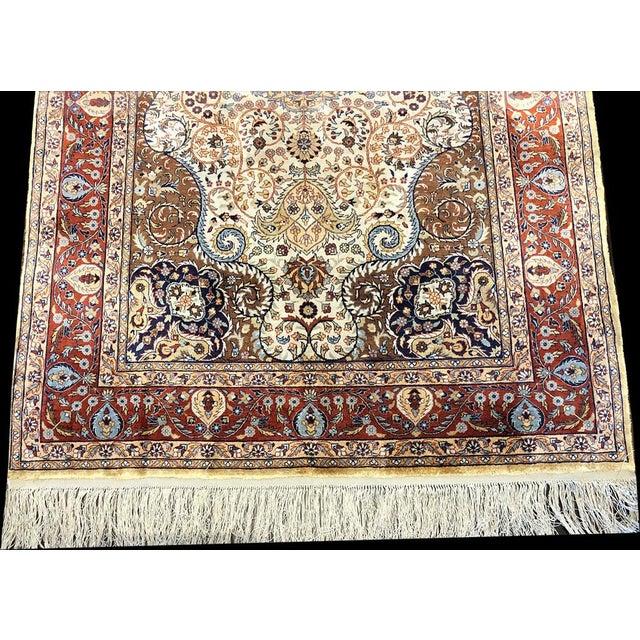 Contemporary Hereke Style 700 Kpsi Silk on Silk Rug For Sale - Image 4 of 7