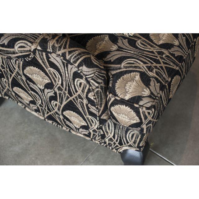 Custom Pearson Black Cream Floral Chair & Ottoman - Image 4 of 7