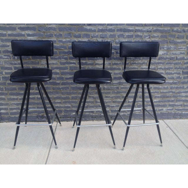 Mid-Century Modern Bar with Set of 3 Bar Stools - Image 9 of 11