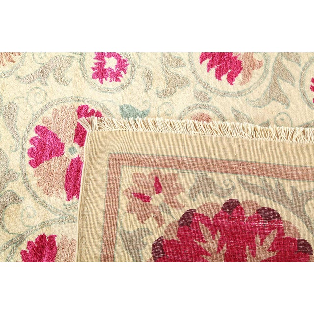 """2010s Suzani Hand-Knotted Area Rug 12' 4"""" x 15' 3"""" For Sale - Image 5 of 9"""