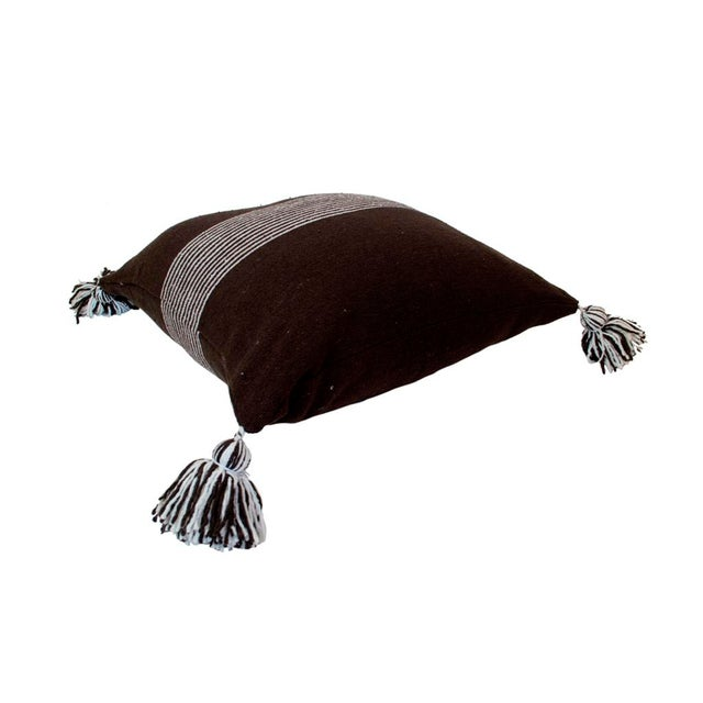 Moroccan White Striped Brown Pom Pom Pillow - Image 2 of 4