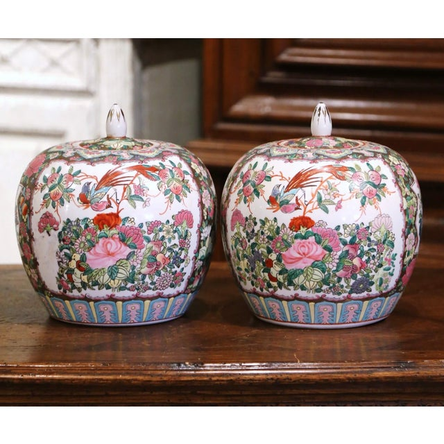 Figurative Mid-Century Chinese Famille Rose Porcelain Melon Jars - a Pair For Sale - Image 3 of 11
