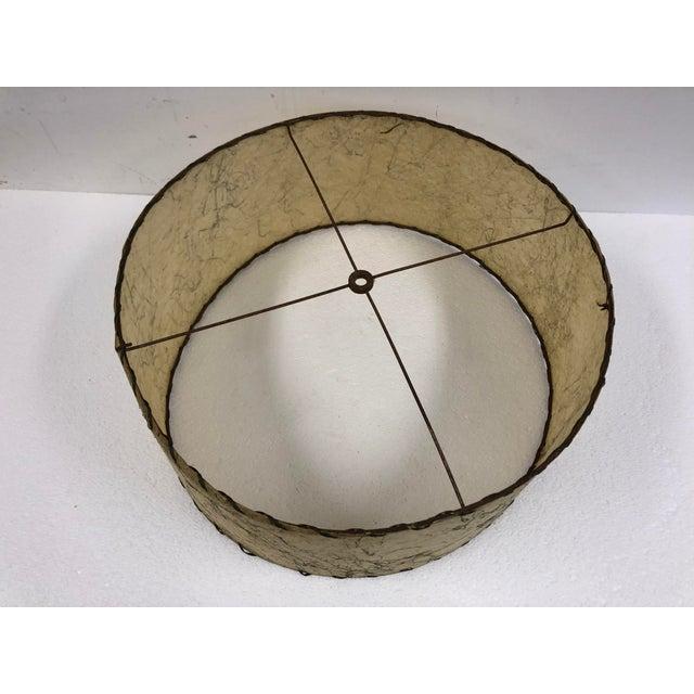 Vintage Mid Century Modern Beige Round Fiberglass Lamp Shade For Sale - Image 4 of 10