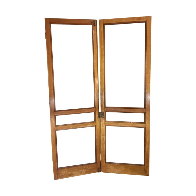 Tiger Oak Plantation Style Screen Doors - A Pair For Sale
