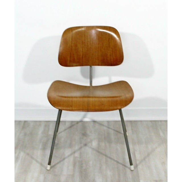 Metal Mid Century Modern Early Original Eames Herman Miller Dcm Side Chair 1950s For Sale - Image 7 of 8