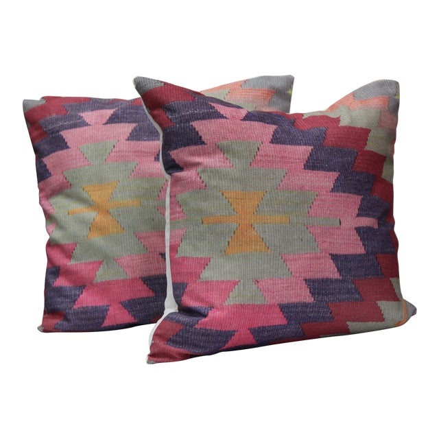 Diamond Pattern Kilim Inspired Print Pillows - a Pair-16'' - Image 1 of 6