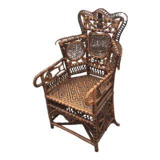Victorian Rattan and Caned Child's Chair For Sale