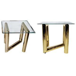 Karl Springer Z-Shaped Side Tables - a Pair* For Sale