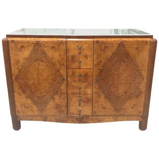 1940s French Art Deco Exotic Burl Walnut Sideboard For Sale