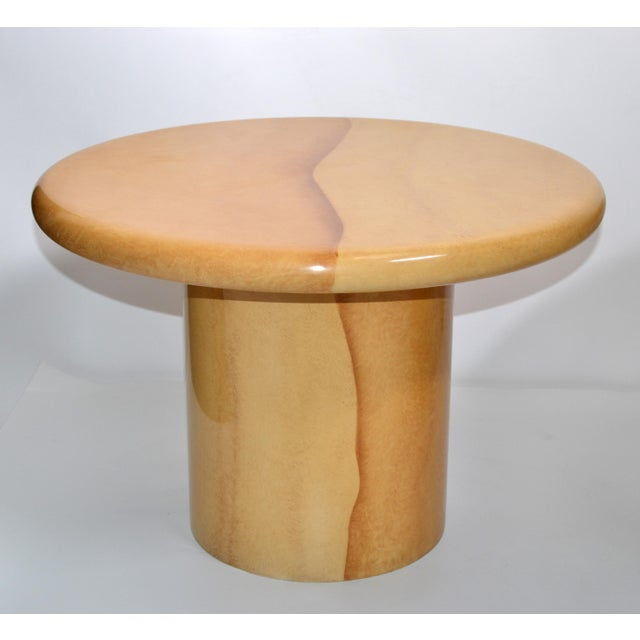 Wood Karl Springer Style Lacquered Goatskin Top Side Tables Mid-Century Modern - Pair For Sale - Image 7 of 13