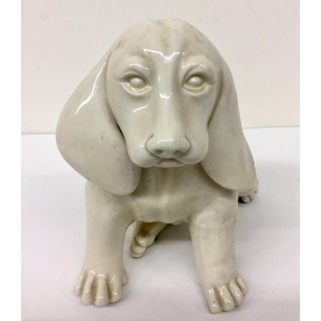 Antique French Porcelain Dog Statue For Sale In Boston - Image 6 of 11