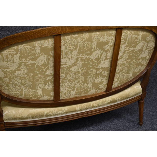 Early 20th Century 19th Century French Louis XVI Style Carved Chinoiseries Canape Settee For Sale - Image 5 of 12