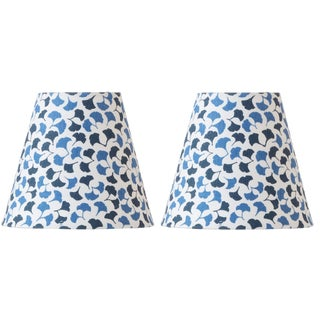 Madcap Cottage Leaf-Print Blue Chandelier Shades, Pair For Sale