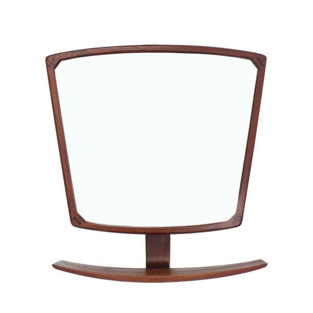 Danish Mid-Century Modern Adjustable Wall Mirror with Shelf For Sale - Image 9 of 9