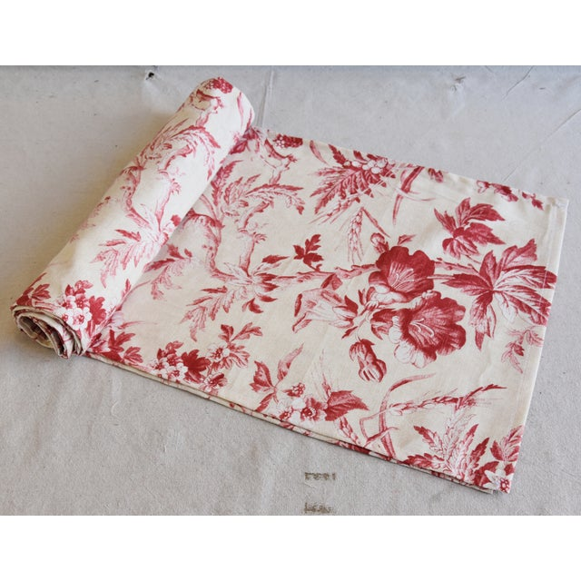 "Cotton Custom French Red & Ivory Trailing Floral Toile Table Runner 110"" Long For Sale - Image 7 of 7"