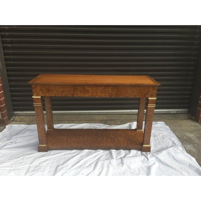 1970s Baker Furniture Regency Console in Burl& Brass For Sale - Image 5 of 12