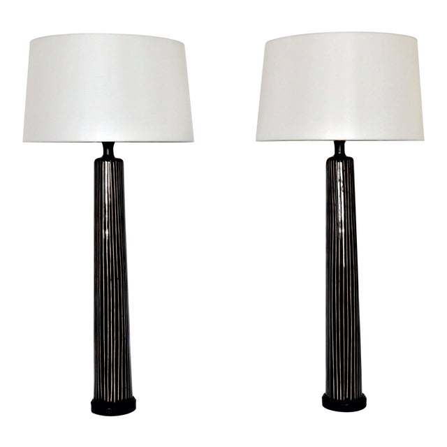 Large tall allison k west for thumbprints contemporary bamboo large tall allison k west for thumbprints contemporary bamboo black table lamps mid century modern oggetti augousti style mcm a pair millennial aloadofball Image collections