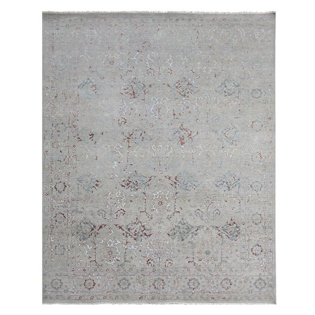 Baby Blue Harwich Hand-Knotted Bamboo SilkLight Blue Rug - 8'x10' For Sale - Image 8 of 8