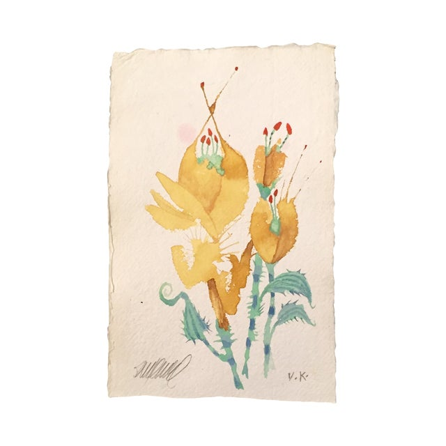 """Prickly Yellow Tulips"" Original Watercolor - Image 1 of 3"