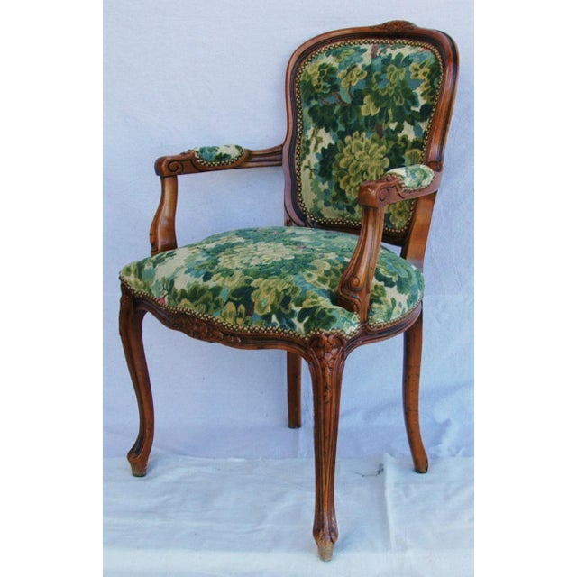 Green Scalamandre Marly Velvet Tapestry Fabric Walnut Armchair For Sale - Image 8 of 11