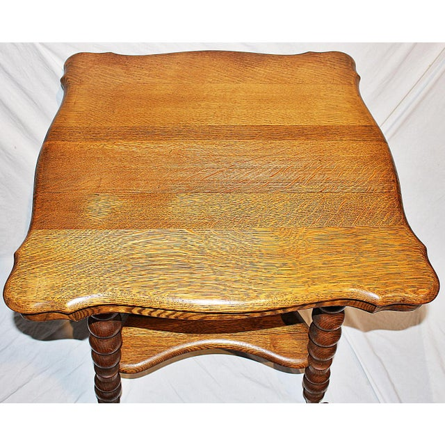 19th Century Americana Tiger Oak Claw-Foot Side Table For Sale - Image 4 of 13