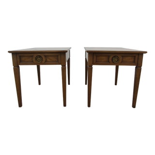 Henredon Side Tables -Banded Tops and Brass Pulls For Sale