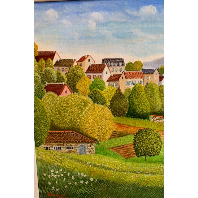 """Andre Bouquet (France 1897-1987). """"Village de L'Ite au France."""" Oil on canvas, signed. The picture shows a village on a..."""