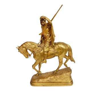 Isidore Jules Bonheur Gilt Bronze Arab on Horseback For Sale