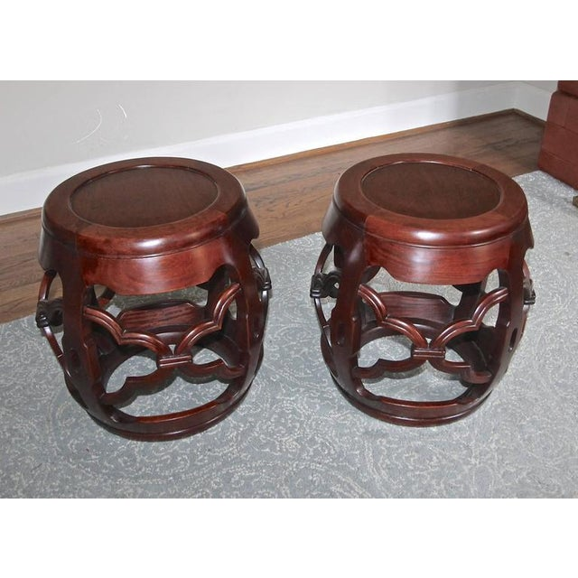 1950s Chinese Asian Hardwood Garden Seat Stools - a Pair For Sale - Image 9 of 10