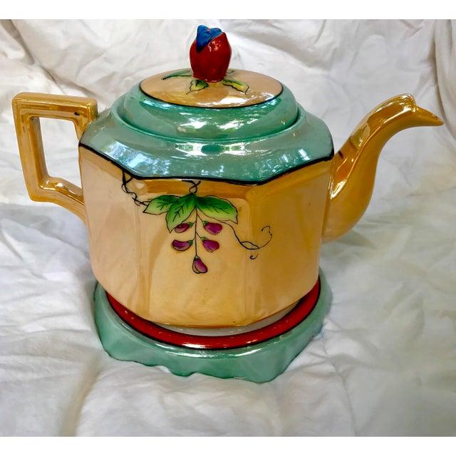 Art Deco Japanese Lustreware Teapot on Base With Bird Theme - 3 Piece Set - Image 6 of 7