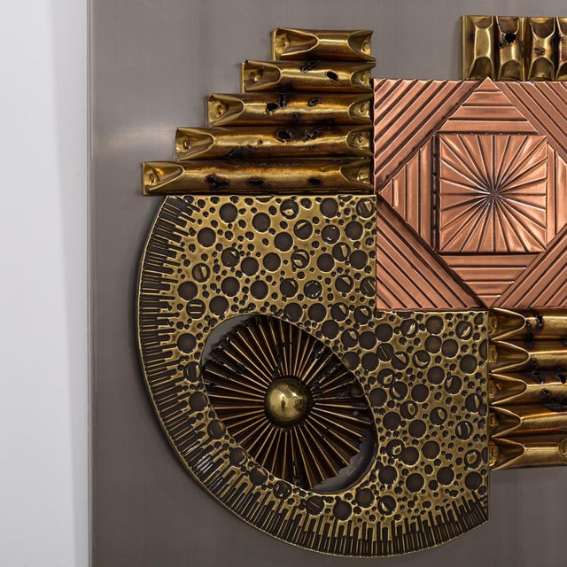 A Square Brutalist Metal Wall Panel Sculpture 1970s For Sale - Image 4 of 5