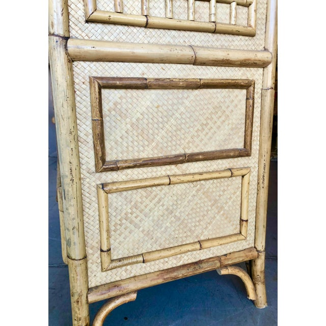Vintage Rattan Burnt Bamboo Armoire For Sale - Image 9 of 13