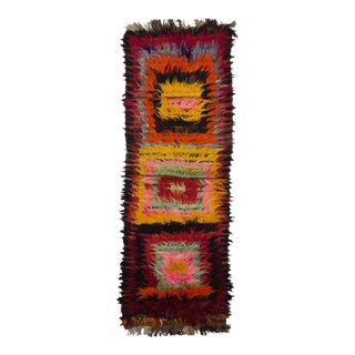 "Vintage Decorative Colorful Tulu Rug - 3'7"" x 10'10"""