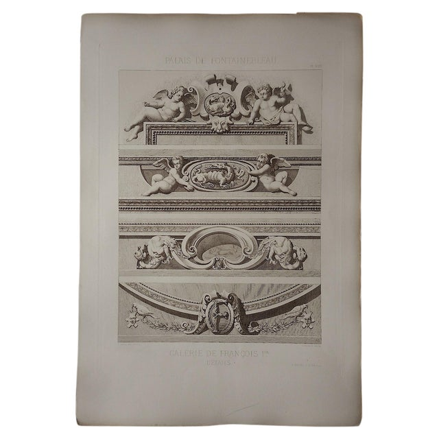 Large Antique Sepia Architectural Engraving - Image 1 of 3