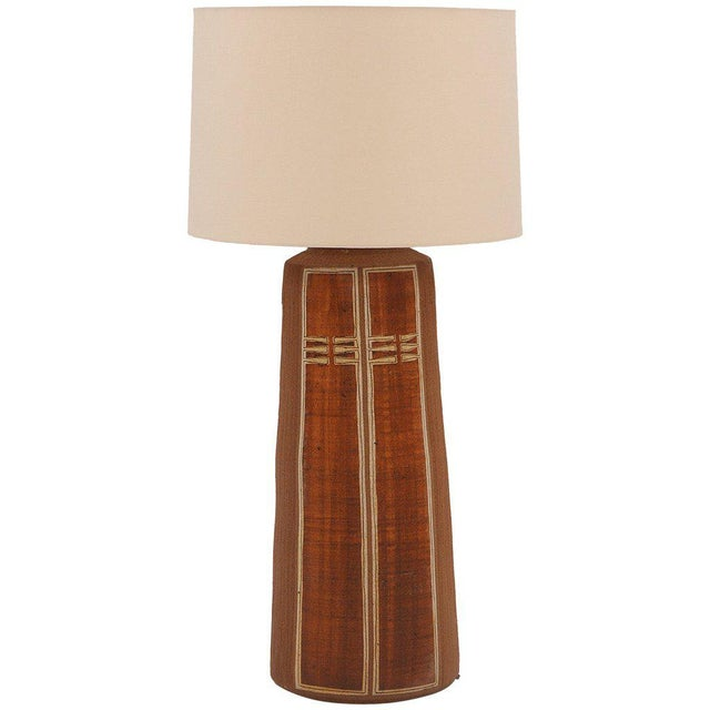 1970s Monumental Glazed Earthenware Lamp For Sale - Image 5 of 5