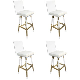 Charles Hollis Jones Barstools in Lucite and Polished Brass For Sale