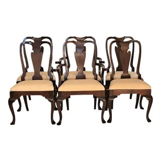 Queen Anne Solid Mahogany Chairs - Set of 6