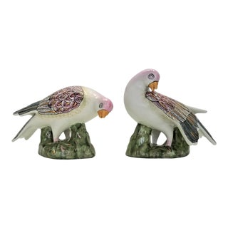 Vintage Chinese Famille Rose Dove Bird Sculpture Figurines - a Pair - Asian Oriental Palm Beach Boho Chic Coastal Tropical For Sale