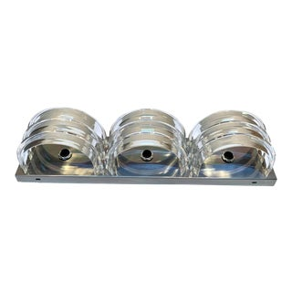 Midcentury Chrome & Stacked Lucite Three- Light Wall Sconce For Sale
