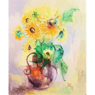 'Still Life of Sunflowers' by Helen Ann Fly For Sale