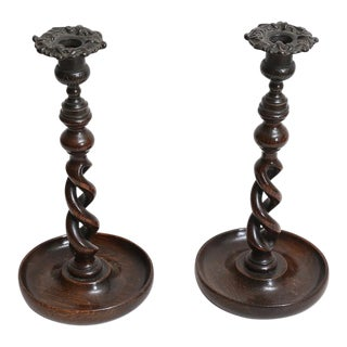 19th Century English Open Twist Oak Candlesticks - A Pair