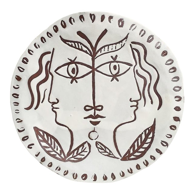 Decorative Ceramic Platter With Faces in Manner of Cocteau For Sale