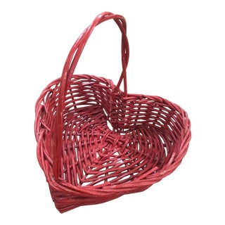 Red Wicker Heart Basket For Sale
