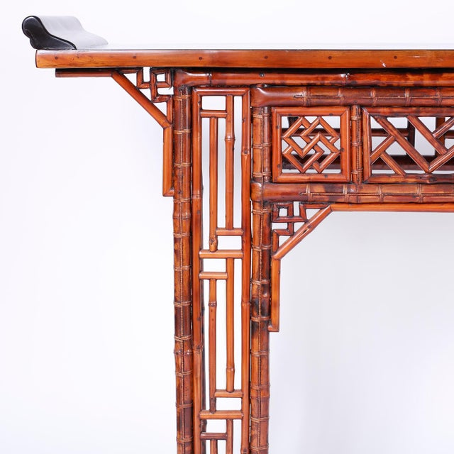 Bamboo Console Table For Sale In West Palm - Image 6 of 10