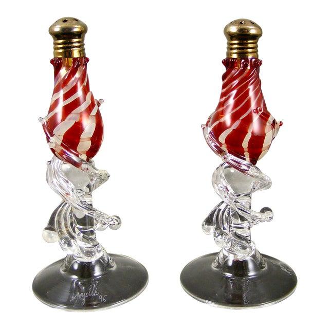 Signed Gazelle Studio Art Glass Salt & Pepper Shakers - A Pair For Sale