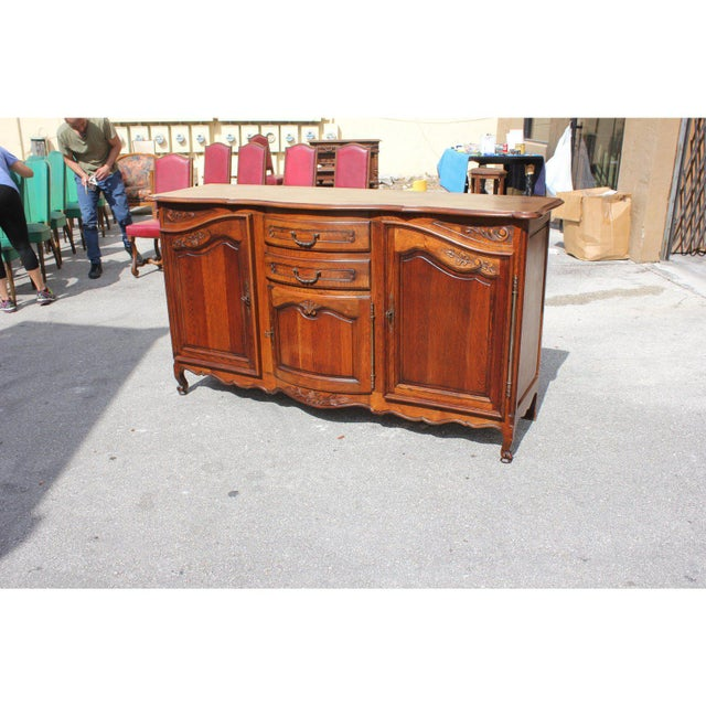 Brown 1900s French Country Solid Oak Sideboard / Buffet For Sale - Image 8 of 13
