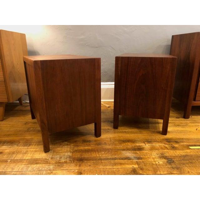 Metal Pair of Mid Century Walnut Nightstands 196s For Sale - Image 7 of 11