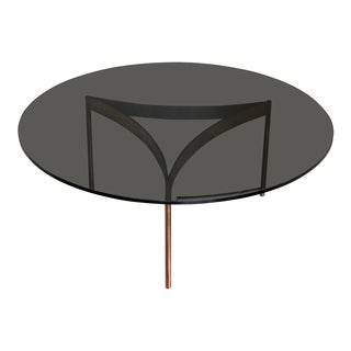 Baughman Style Mid-Century Smoked Glass Coffee Table For Sale