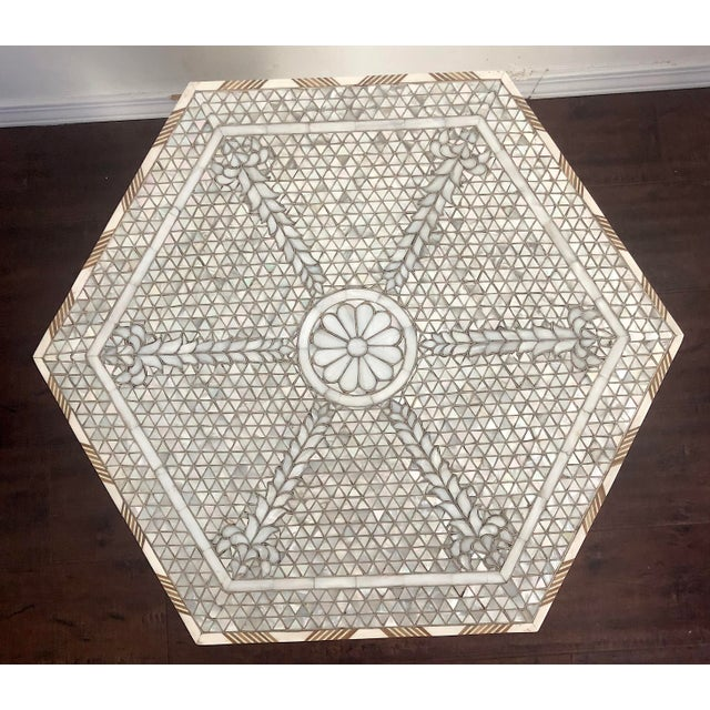 Contemporary Mother of Pearl Inlay Hexagonal Side Table For Sale In Los Angeles - Image 6 of 8