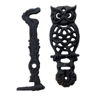 Vintage Two Piece Black Iron Owl Plant Hanger For Sale